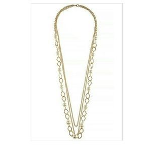 Tri-Layered Goldtone Necklace Set with Faux Pearls
